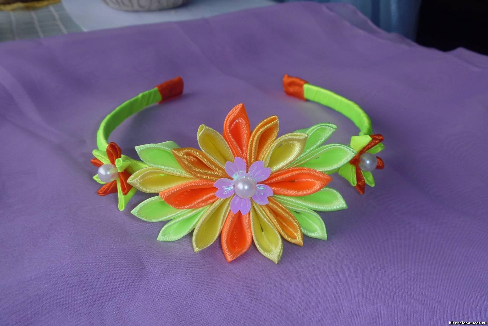 Ободок с атласными цветами своими руками