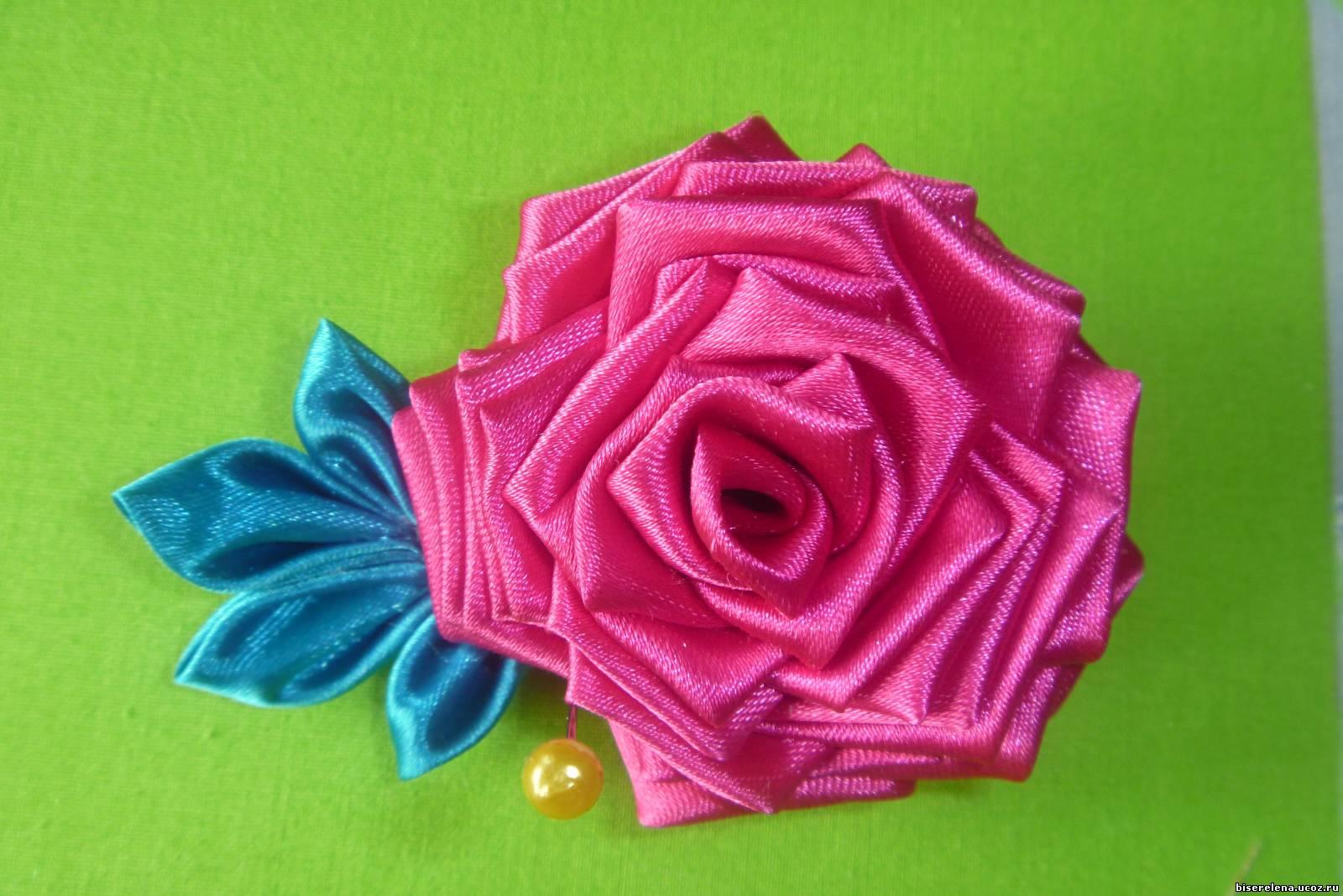 Розы заколки из атласных лент своими руками фото